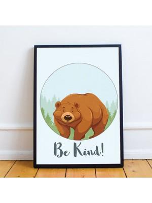 Animal Bear Framed Nursery Prints Wall Art For Nursery Baby Room