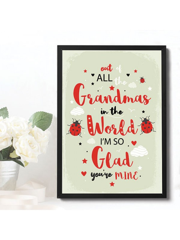 FRAMED Print Grandma Birthday Gift From Granddaughter Grandson
