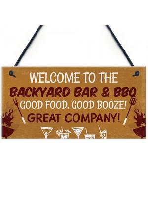 Backyard Bar Sign Garden Sign BBQ Alcohol Man Cave Vintage Sign