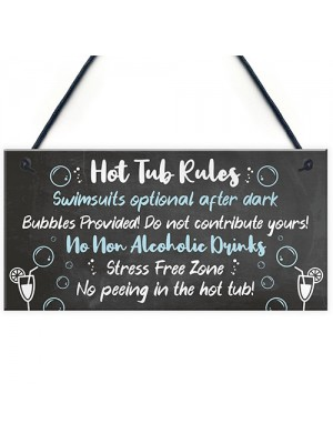 HOT TUB RULES Sign Hot Tub Signs And Plaques Shed Sign Decor