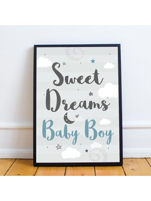 Grey And Blue Nursery Prints Boys Bedroom Wall Art New Baby Gift