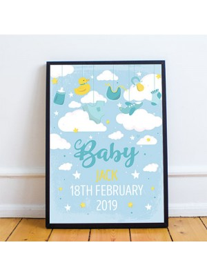 FRAMED Birth Details Print PERSONALISED Baby Boy Gift Wall Art