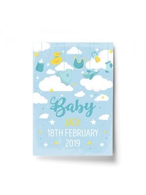 Birth Details Print PERSONALISED Baby Boy Gift Nursery Print