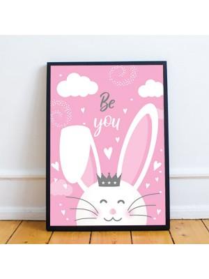 Cute Bunny Print Nursery Print For Girls Bedroom Nursery Decor