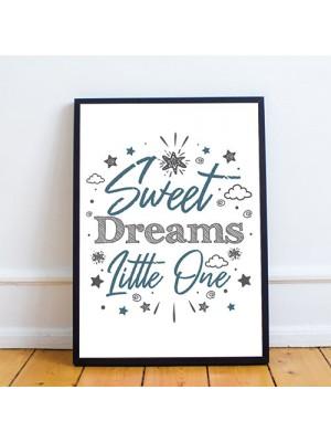 Blue And Grey Nursery Print Sweet Dreams Prints Girl Boy Decor