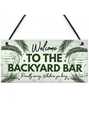 Novelty Garden Sign Backyard Bar Plaque Alcohol Man Cave Sign