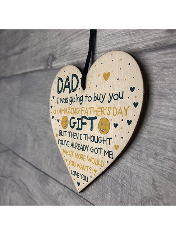Funny Fathers Day Gifts Wood Heart Sign Present From Daughter
