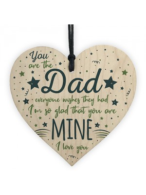 Dad Daddy Grandad Gift Wooden Heart Sign Birthday Gift For Dad
