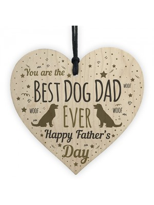 Funny Father's Day Gift Card Wooden Heart Best Dog Dad Gifts