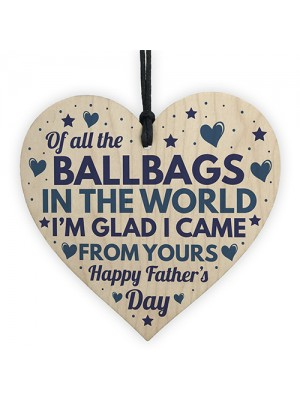 Funny Rude Fathers Day Gifts Novelty Wooden Heart Gift For Dad