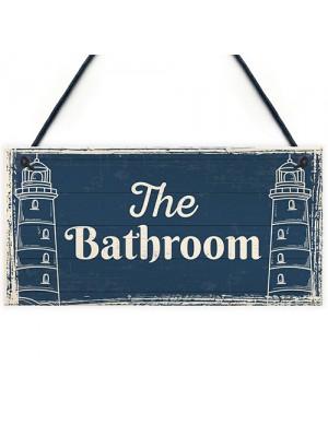 The Bathroom Nautical Bathroom Sign Decorations Shabby Chic