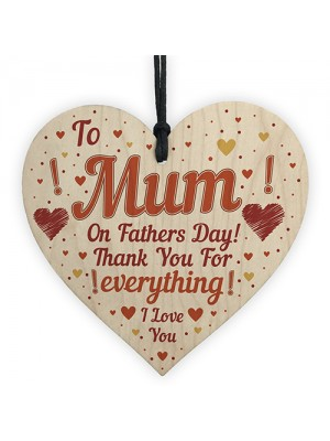 Fathers Day Card For Mum Novelty Wooden Heart Gift For Mum