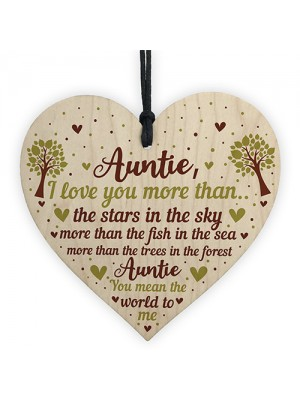 Cute Auntie Gifts Wooden Heart Auntie Birthday Gift Sister Gifts