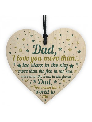 Dad I Love You Wooden Heart Fathers Day Gift Dad Birthday Gift
