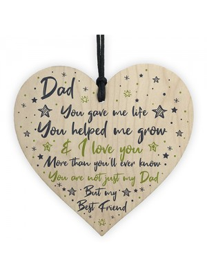 Dad Daddy Gifts From Daughter Son Wood Heart Fathers Day Gift