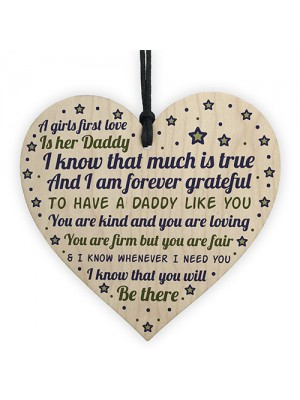 Daddy's Girl Hanging Wooden Heart FATHERS DAY Gift For Him