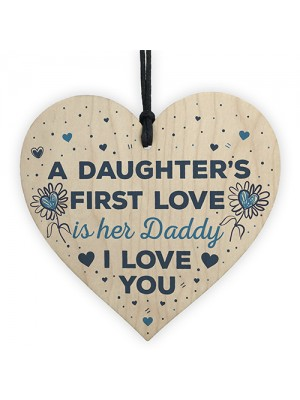 Love Daddy Dad Wooden Heart Happy Birthday Card Gift Thank You