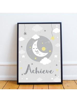 Framed Grey Nursery Art Print Picture For Baby Boy Girl Bedroom