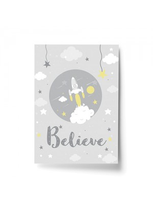 Cute Nursery Print For Boy Bedroom Nursery Believe Quote Print