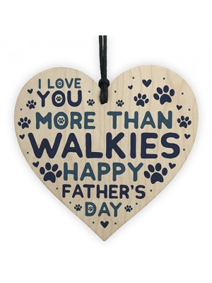 Funny Fathers Day Gift Card Wooden Heart Best Dog Dad Gifts