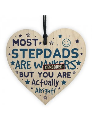 Funny Rude Step Dad Gifts Novelty Wooden Heart Sign Fathers Day