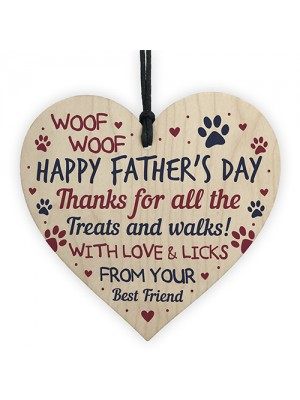 Fathers Day Funny Gifts From Dog Novelty Wooden Heart Dog Dad