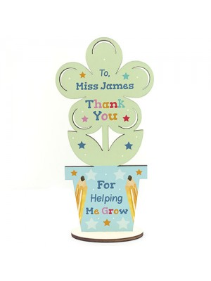 Personalised Teacher Gift Wood Flower School Nursery Pre School