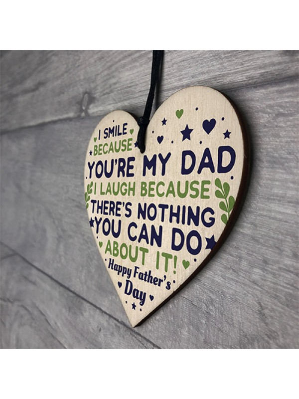 Cheeky Fathers Day Gift Wood Heart Funny Fathers Day Gift