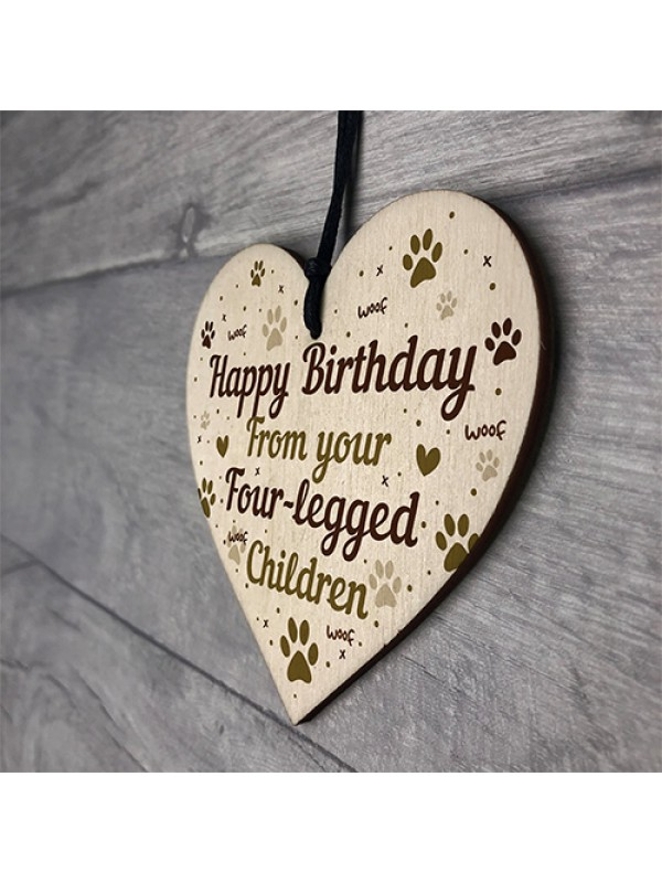 FUNNY Birthday Gift For Mum Dad Wooden Heart Gift From Dog