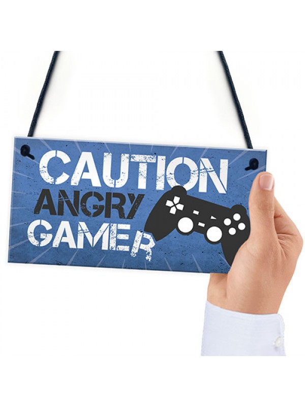 Blue Gaming Sign Hanging Door Plaque Gamer Gift Boys Bedroom