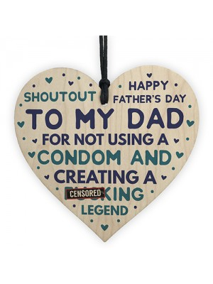 Funny Fathers Day Gift Wooden Heart Funny Card For Dad