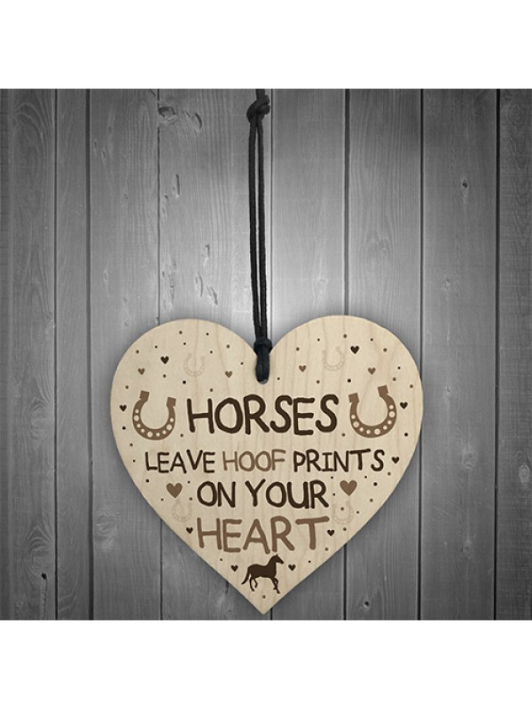 Cute Horse Lover Gift Wood Heart Horse Signs And Plaques
