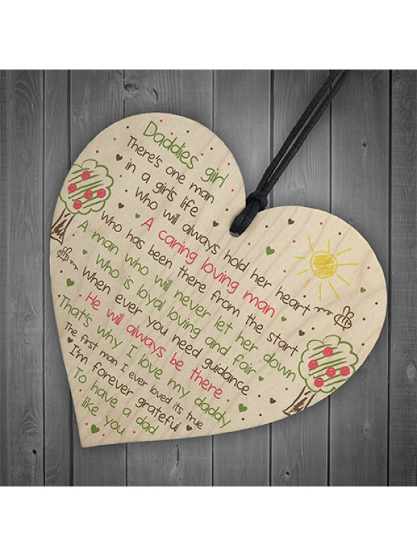 Daddies Girl Wooden Heart Fathers Day Gift For Daddy Dad