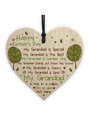 Fathers Day Gift For Grandad Wooden Heart Grandad Plaque