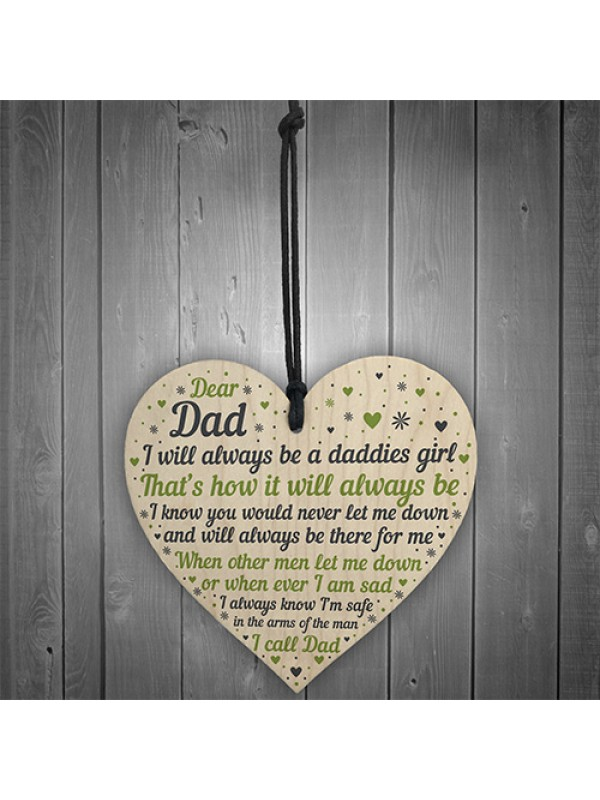 Daddies Girl Wood Heart Fathers Day Gift For Dad Birthday Gifts
