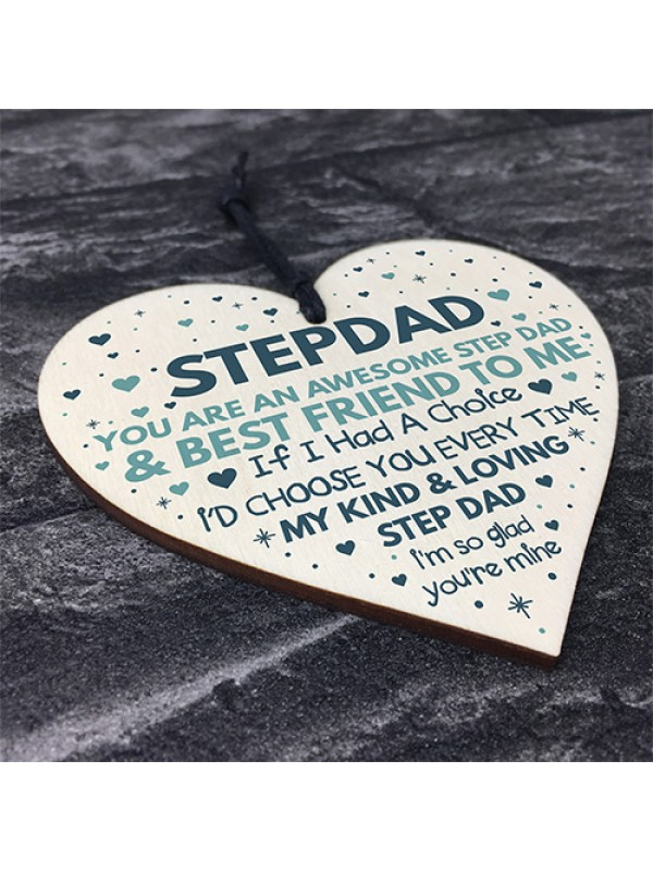 Step Dad Fathers Day Gifts for Best Step Dad Wooden Heart Gift