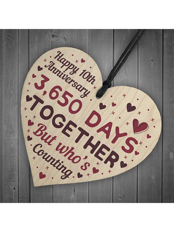 Handmade Wood Heart Gift To Celebrate 10th Wedding Anniversary