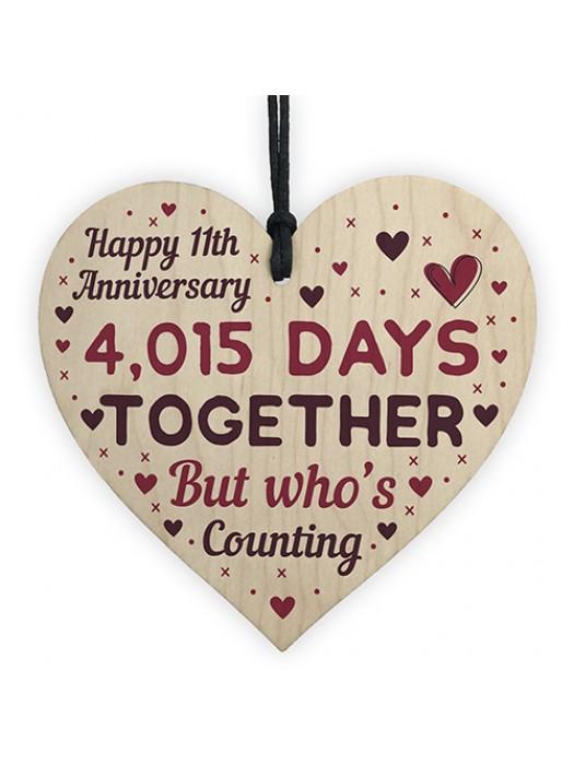 Handmade Wooden Heart Gift To Celebrate 11th Wedding Anniversary