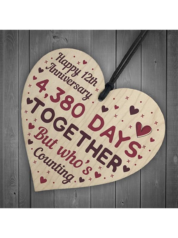 Handmade Wood Heart Gift To Celebrate 12th Wedding Anniversary