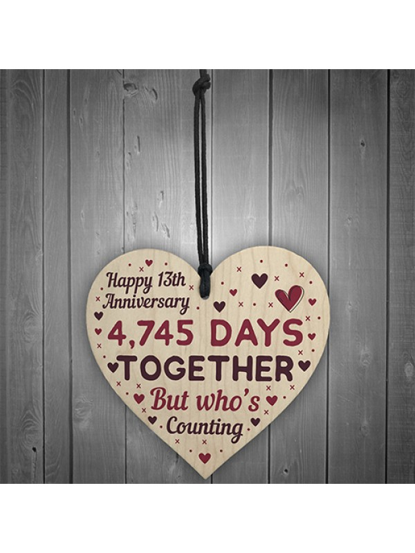 Handmade Wood Heart Gift To Celebrate 13th Wedding Anniversary