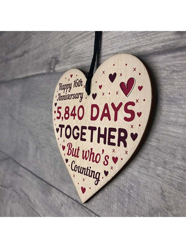 Handmade Wood Heart Gift To Celebrate 16th Wedding Anniversary