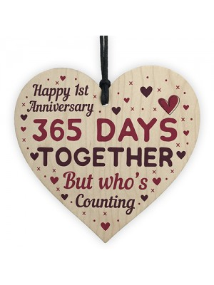 Handmade Heart Plaque Gift Celebrate 1st Wedding Anniversary