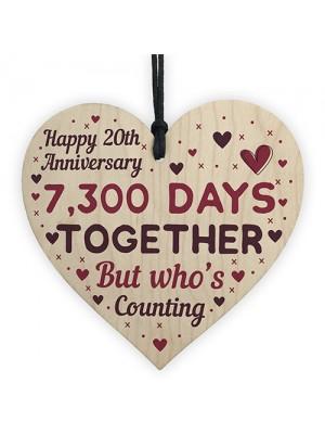 Handmade Wood Heart Sign Gift To Celebrate 20th Anniversary Gift