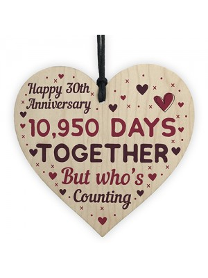 Handmade Wood Heart Sign Gift To Celebrate 30th Anniversary
