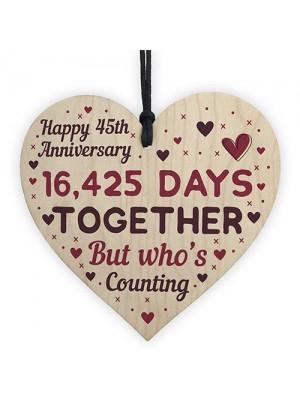 Handmade Wood Heart Gift To Celebrate 45th Wedding Anniversary