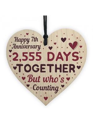 Handmade Wood Heart Gift To Celebrate 7th Wedding Anniversary
