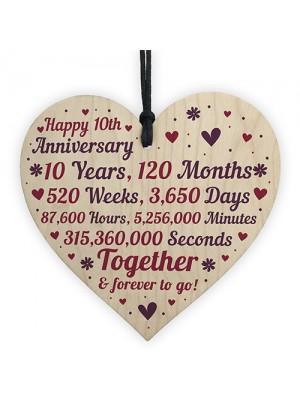 Anniversary Wooden Heart To Celebrate 10th Wedding Anniversary