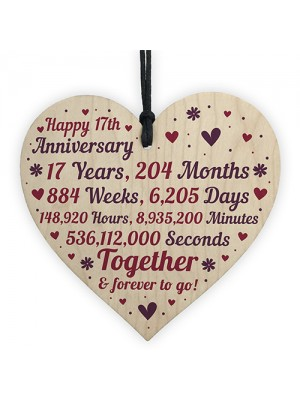 Anniversary Wooden Heart To Celebrate 17th Wedding Anniversary