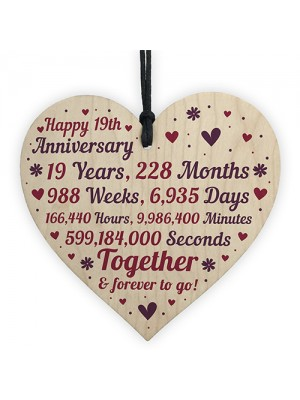 Anniversary Wooden Heart To Celebrate 19th Wedding Anniversary