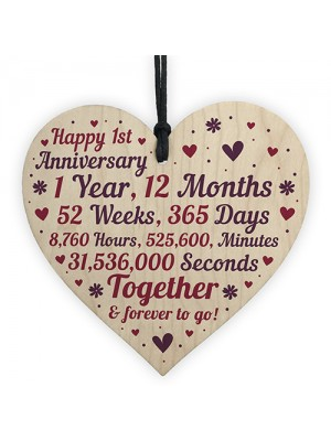 Anniversary Wooden Heart To Celebrate 1st Wedding Anniversary